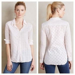 Holding Horses button shirt eyelet floral plaid S